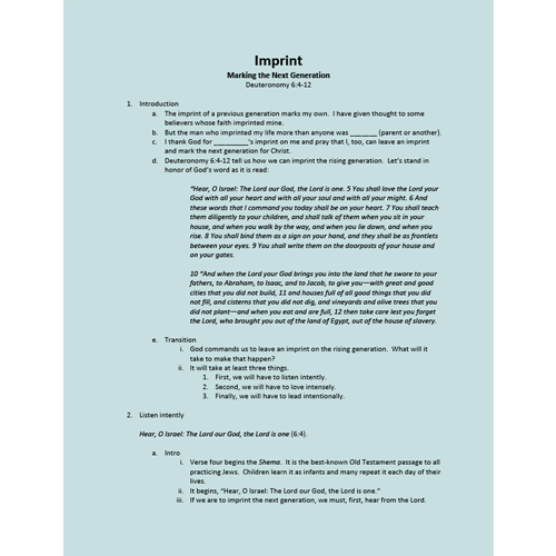 Sermon Outlines – Georgia Barnette State Missions Offering